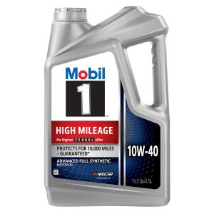 Mobil 1 High Mileage Full Synthetic Motor Oil 10W-40 5 Quart